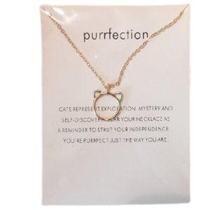 5/$25 - Purrfection Cat Circle Gold Color Necklace